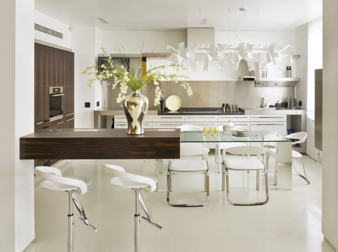 Without seriously altering the layout or footprint of this kitchen, the space was stylistically recreated to give it this contemporary industrial look. The sleek floor and contemporary kitchen dinette sets accentuate the whole feel
