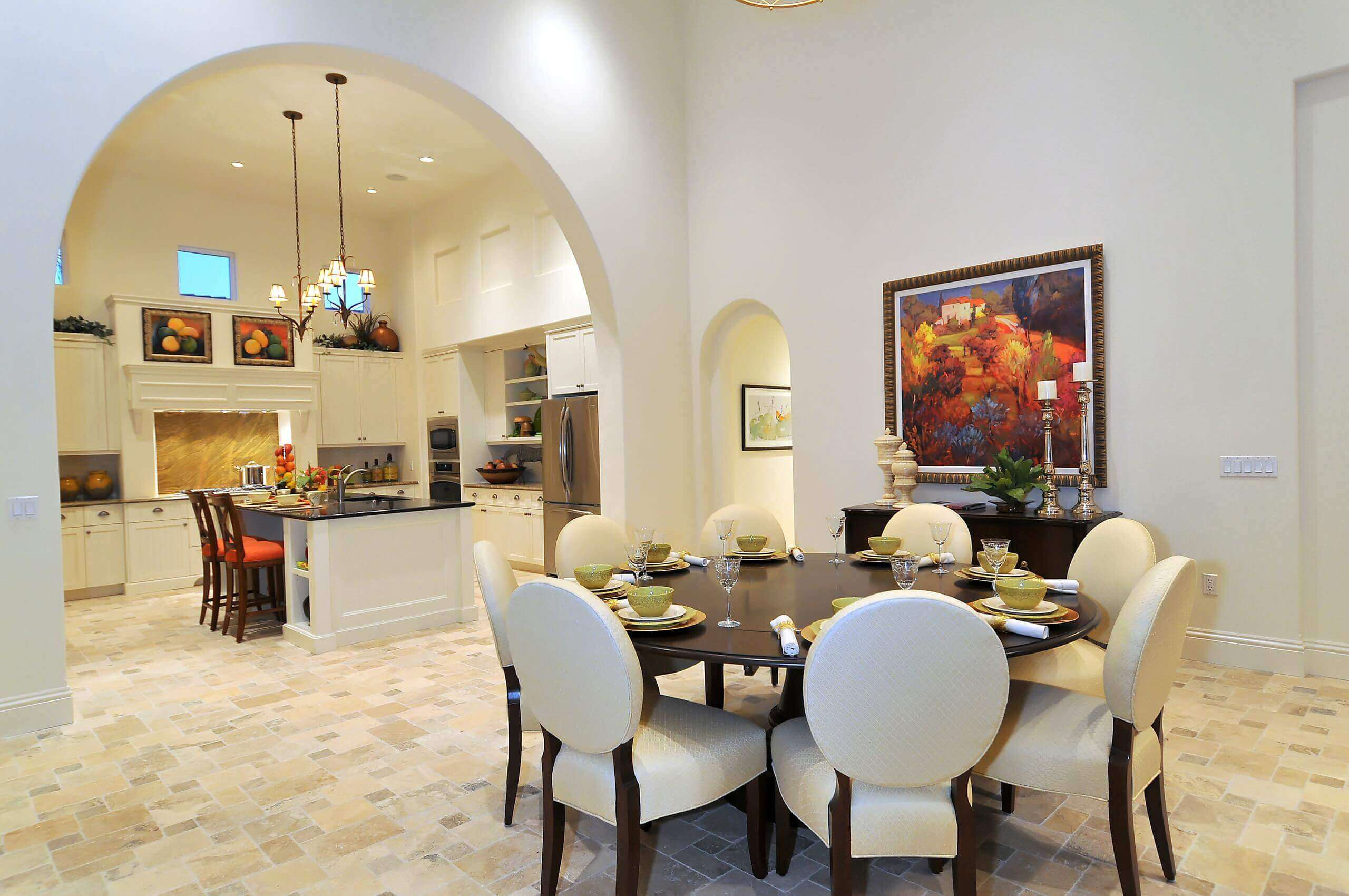 As one of the important furniture piece in this stunning kitchen, the contemporary round kitchen table and chairs properly fill the space, enhance comfort while reflecting the entire home personality