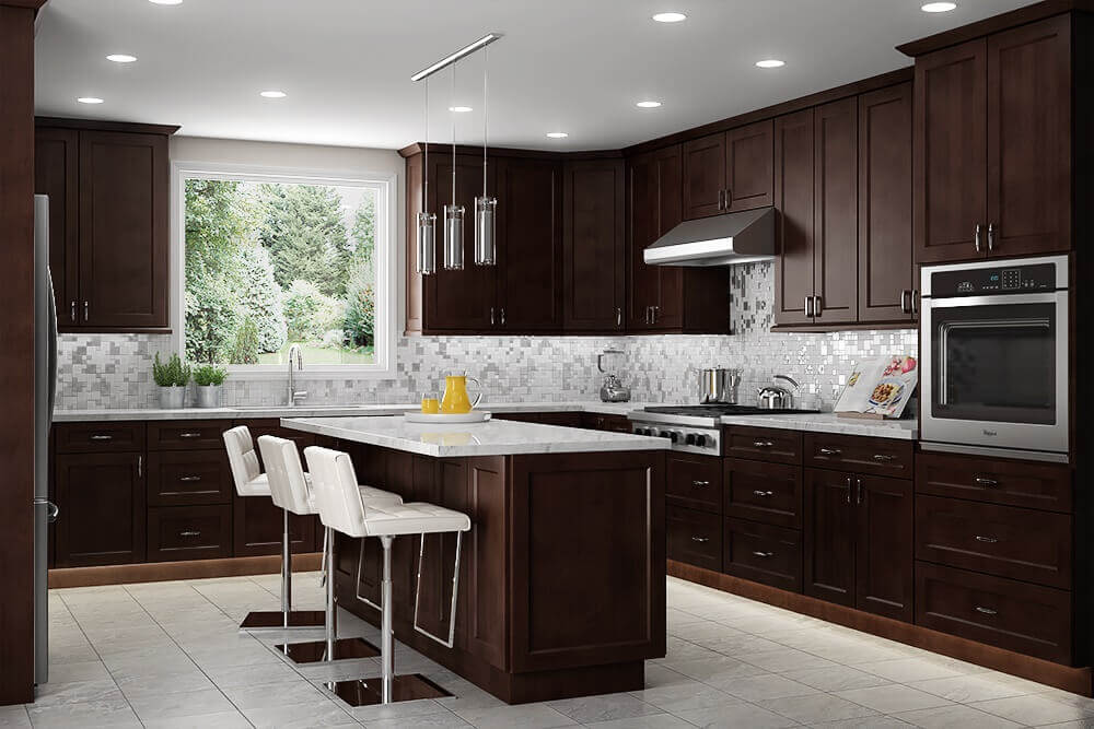 Dark brown contemporary kitchen cabinets and island add warmth and beautiful contrast to this natural kitchen. Three chic barstools line the island to provide a place to wine and dine or even converse with guests as the meal is prepped