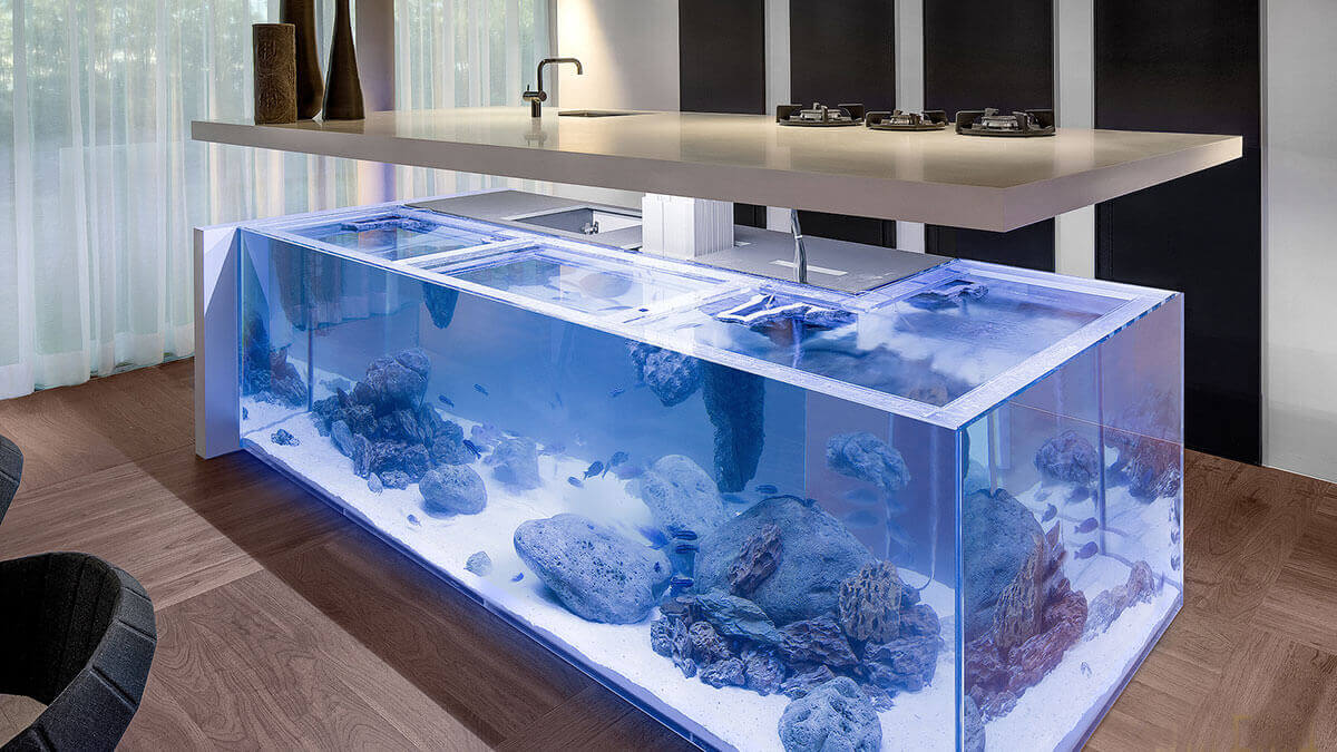 This incredible kitchen island fish tank brings real time ocean feel to the kitchen. Complete with hidden shelves, and LED lighting, it actually combines an aquarium with an island in a superlative fashion