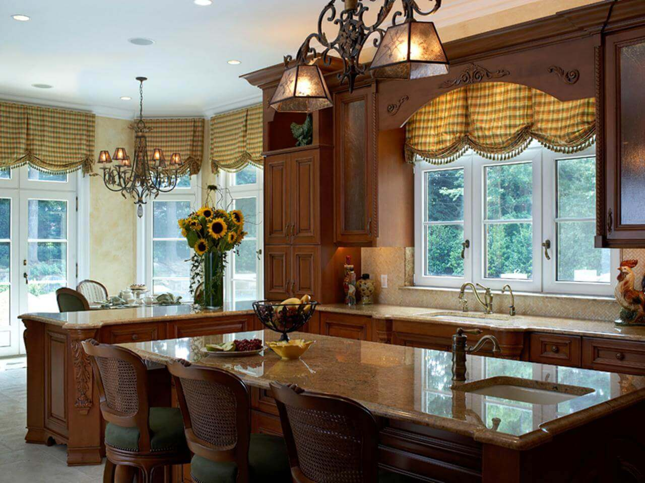 As with painting of the walls and other elements, adding luxury kitchen window curtains to cover the walls is one interesting and effective way to bring style and elegance into the kitchen space