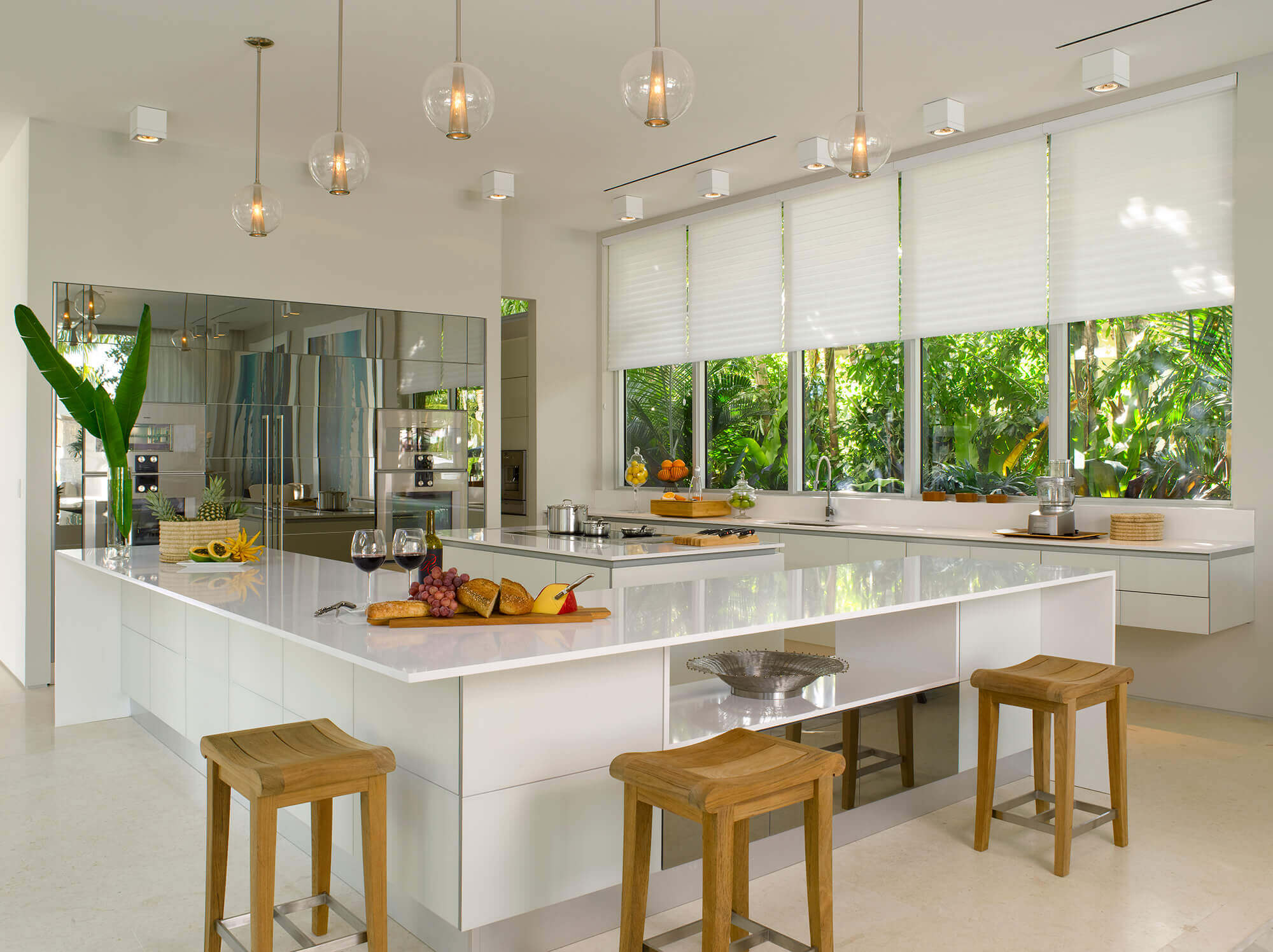 of the modern kitchen design with windows include glass windows