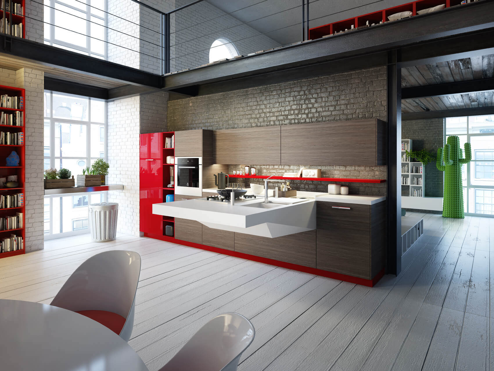 Modern kitchen interior design means sometimes using unusual materials. This design melds hardwood, ceramics, concrete, granite and glass together in a kitchen space that is a work of art in its own right
