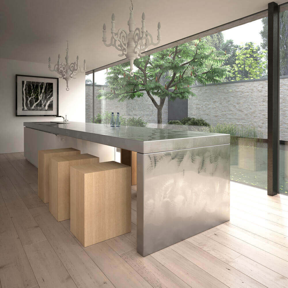 With a gorgeous view through a full wall of large windows, this room is all about openness. Its main feature; the modern kitchen island with attached table, highlights the natural feel of the space