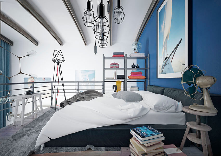 With its conventional teenage retreat, this loft is a fabulous teen bedroom modern style. The space is equipped with steel shelves that provide extra storage space without compromising the design scheme