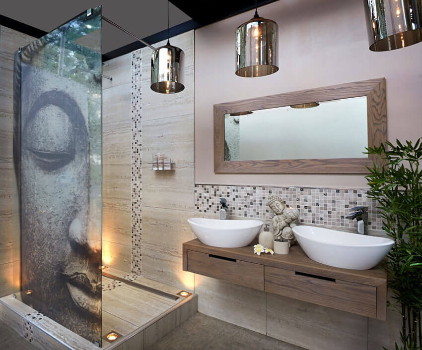 asian bathroom lighting. asian style master bathroom with pendant lights lighting