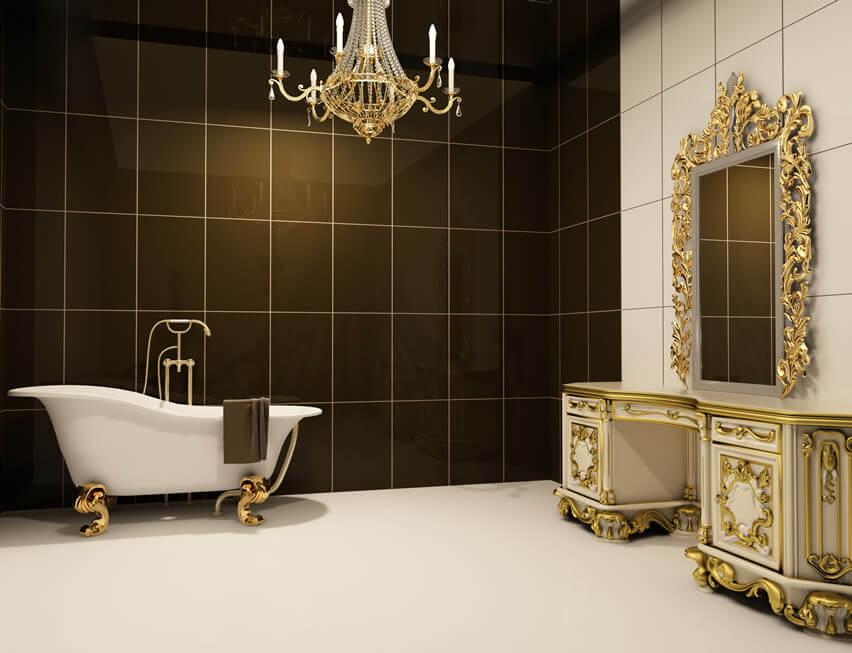 Baroque bath black gold trim chandelier mirror