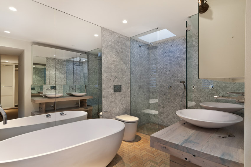 bathroom with intricate tilework