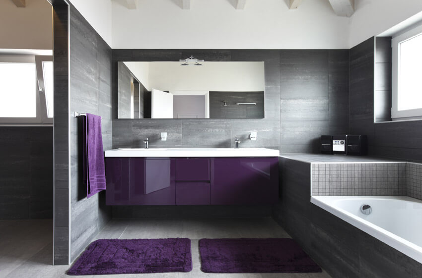 bathroom with purple sink cabinet