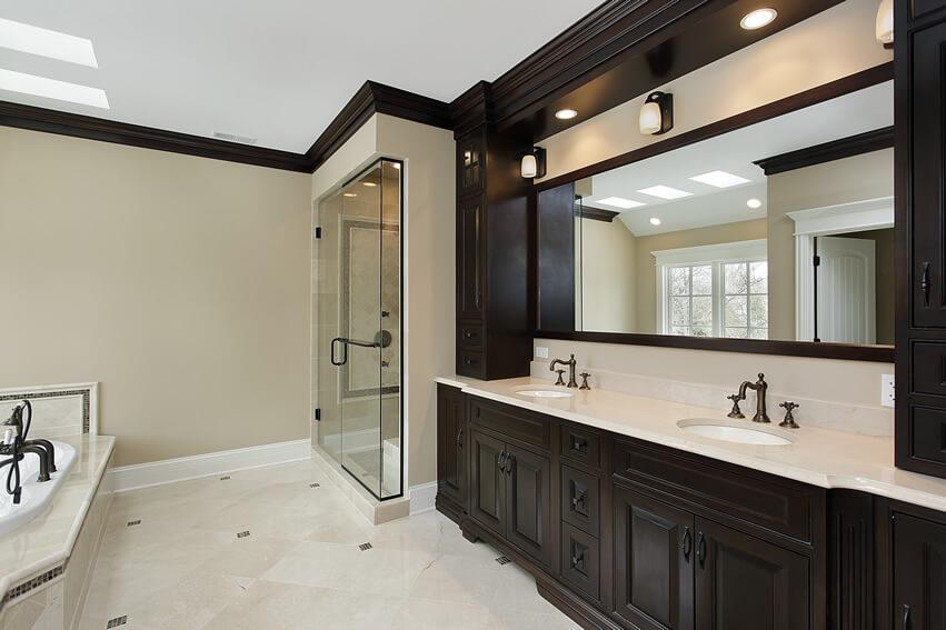 Beautiful dark cabinets in master bath room