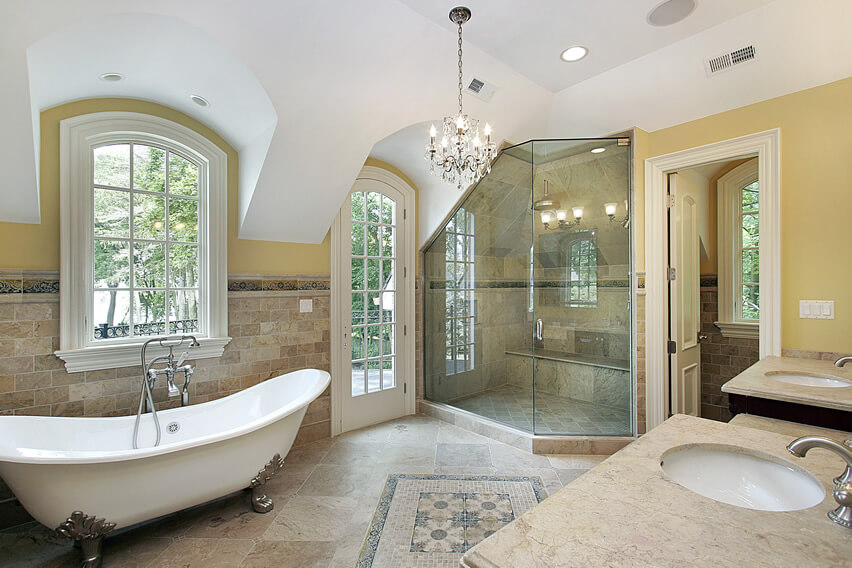 Beautiful luxury bath glass shower chandelier dual sinks