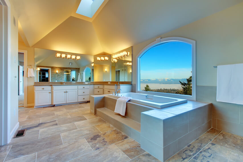 Beautiful master bath with amazing window view