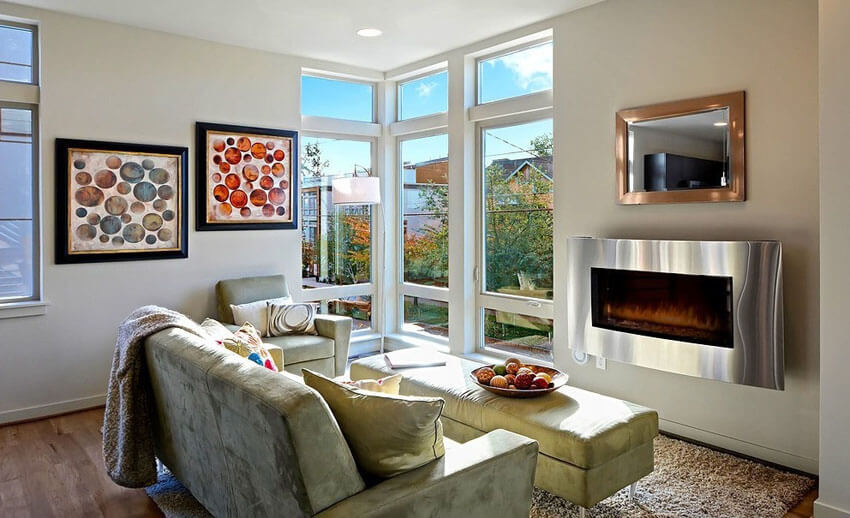 Beautiful Small Living Room With Wood Floors And Gas Fireplace
