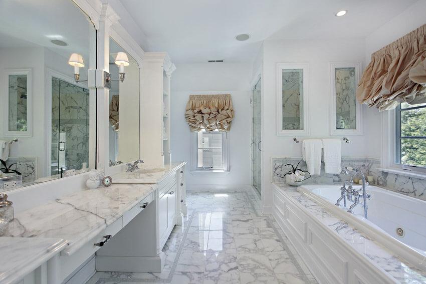 beautiful white bathroom in marble