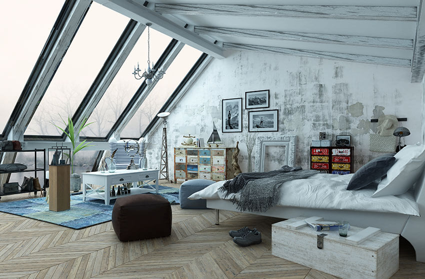 Lovely Bedroom Loft With Large Slanted Wall Of Windows