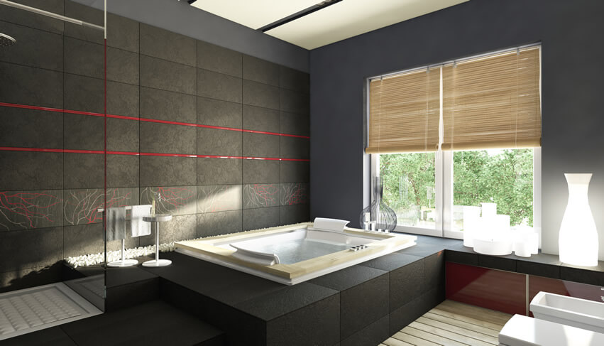 This sleek black bathroom white sinks bathtub combines function and form into a relaxing wet space. The excellent use of space and the simple clean lines of the porcelain sinks and bathtub add to elegance feel of the room