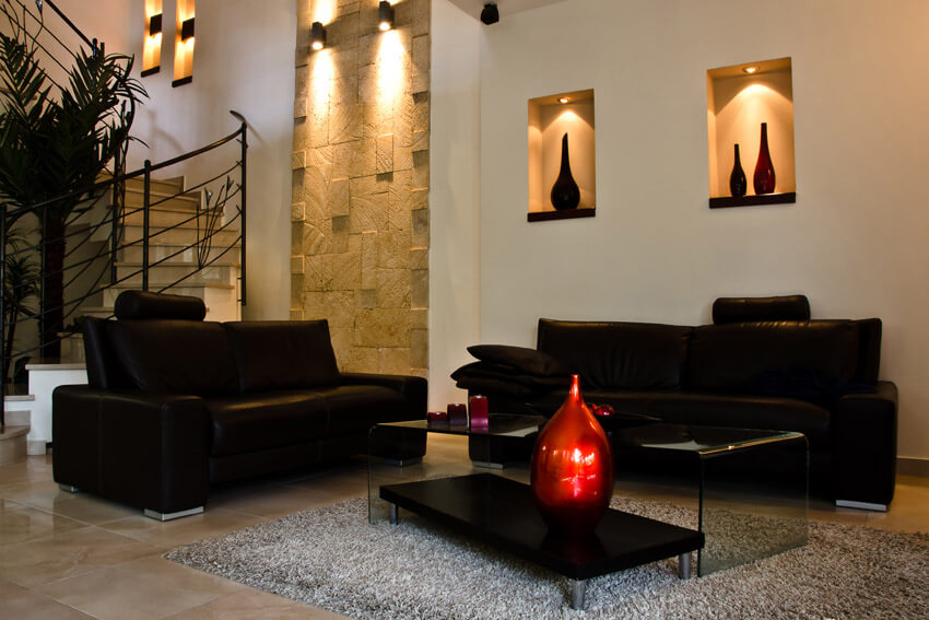 Black Furniture In Living Room With Wall Alcoves