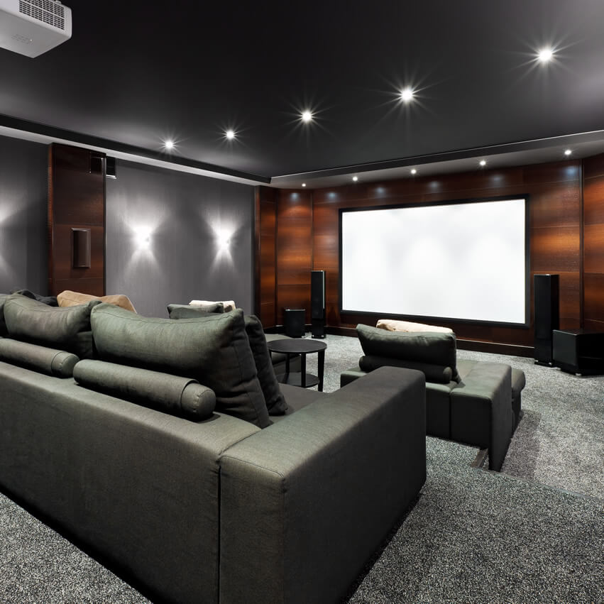 Black Grey Home Theater With Brown Accent Wall