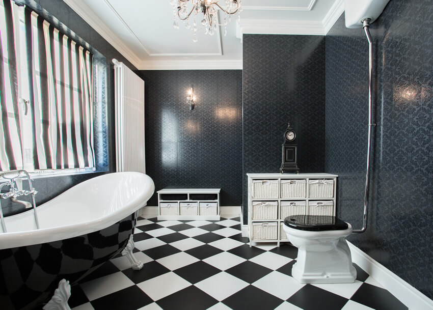 This clean black white bathroom stripes checker pattern brings together black and white color in varied patterns to create a dream design. The tiled flooring in checkered pattern of black and white is the focal point of the room