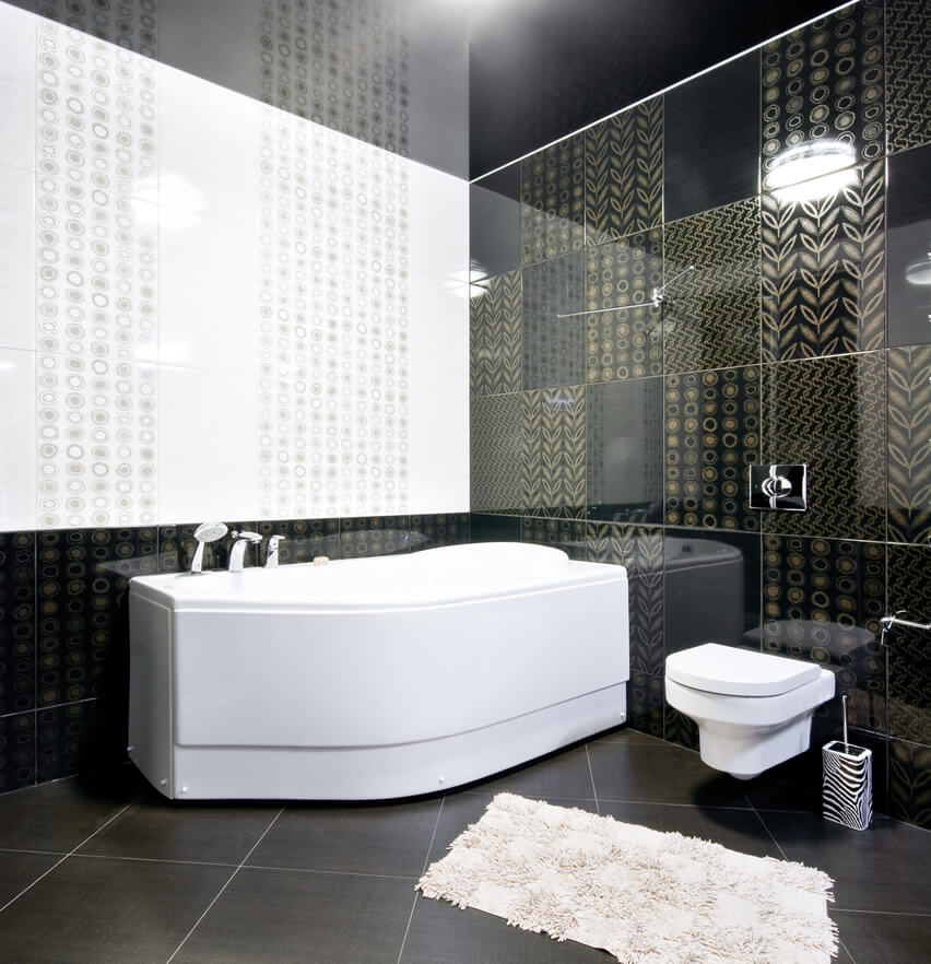 Black White Walled Bathroom Gold Accents