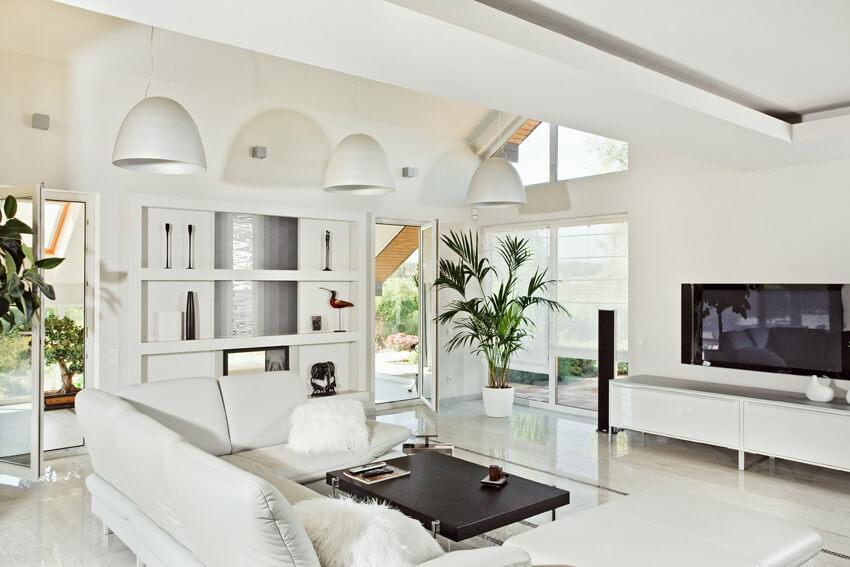 Bright White Casual Living Room Design