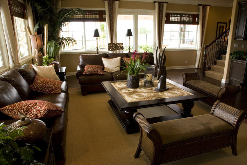 Brown Theme Living Room Design With Decor