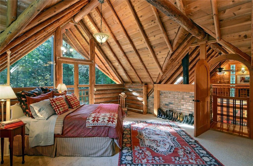 Cabin Loft Bedroom with Vaulted Wood Ceiling