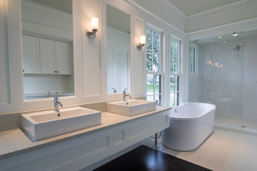 clean white bathroom design with dual sinks