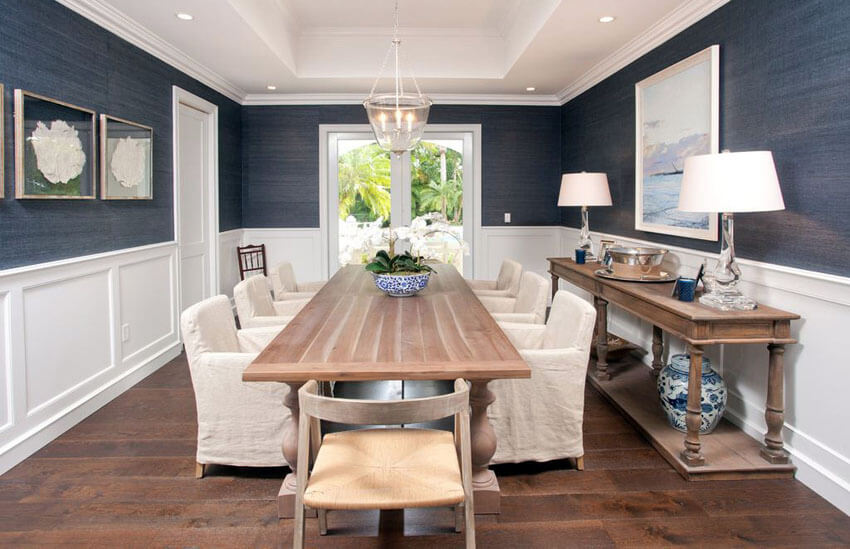 coastal style dining room with wainscoting