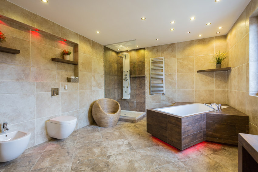 contemporary bathroom design with neon lighting