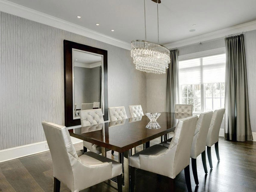 contemporary dining room with gray textured wallpaper