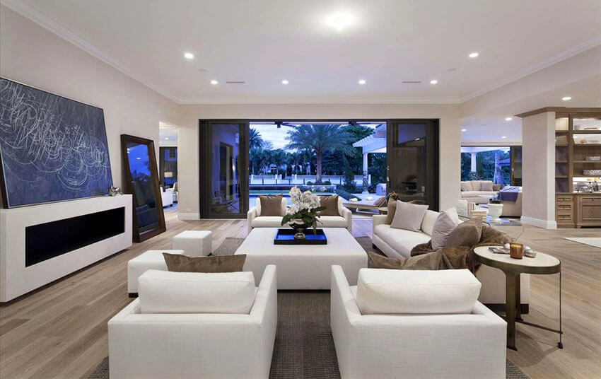 Contemporary Formal Living Room With White Furniture