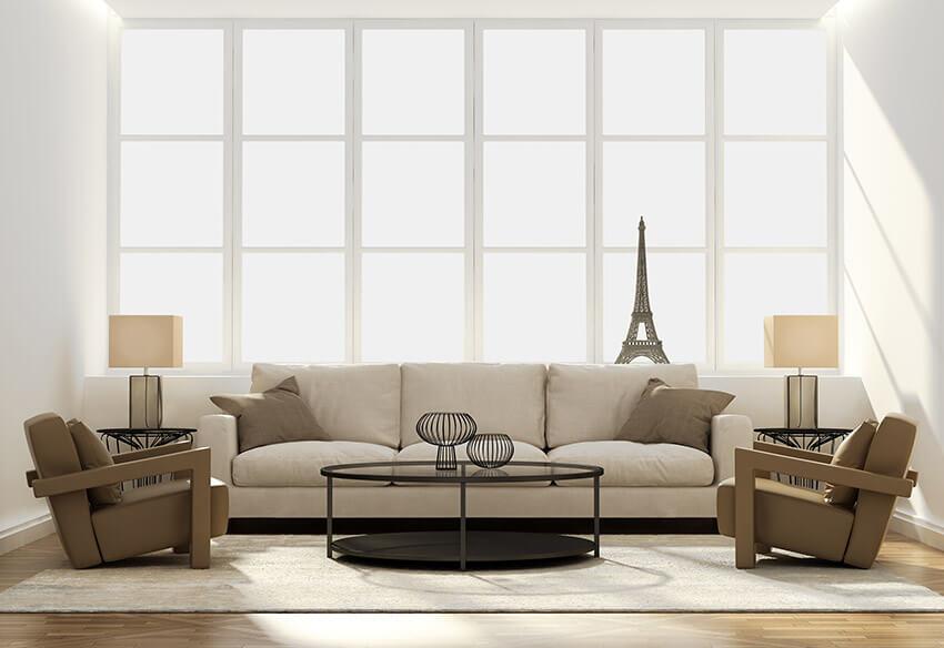 Contemporary Living Room Bright White Design