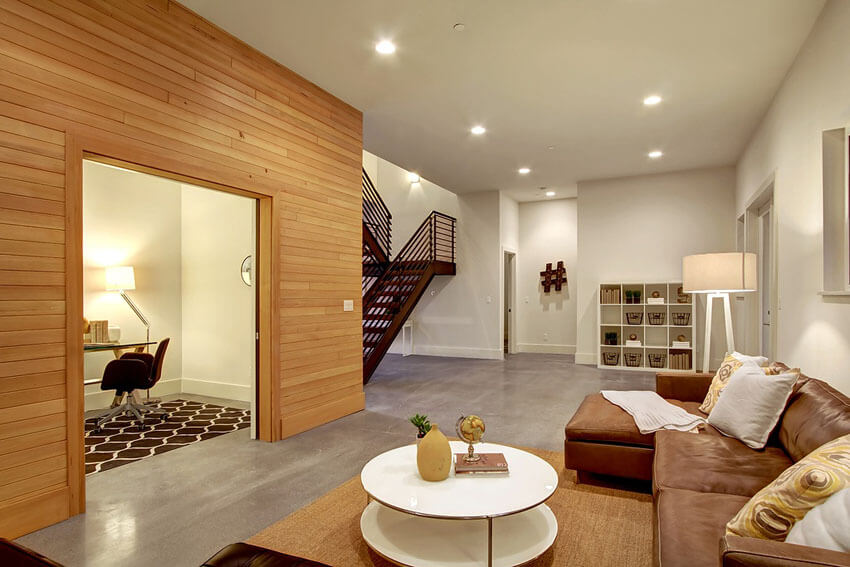 Contemporary Living Room With Polished Concrete Floors