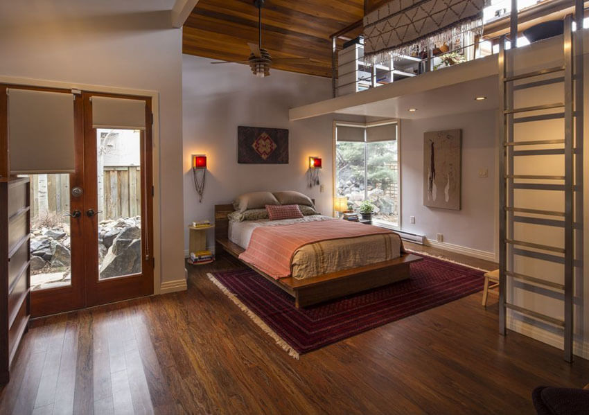 Contemporary Loft Bedroom with Reverse Floor Plan