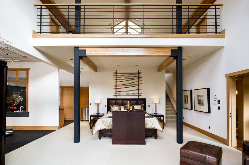 Contemporary Loft Bedroom with Upstairs Living Area