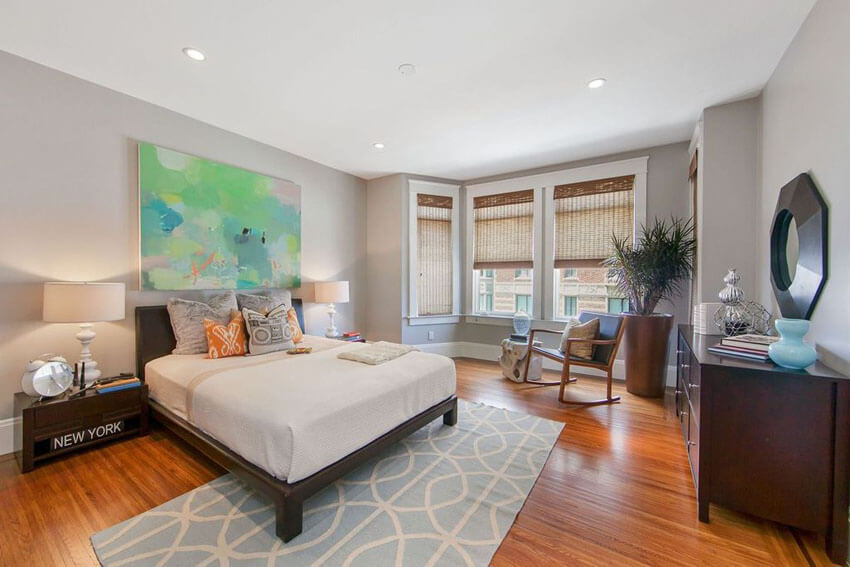 Contemporary Master Bedroom with Tigerwood Flooring