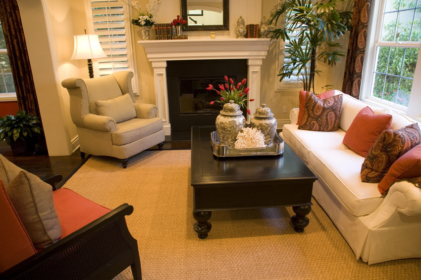 Cozy Living Room With Fireplace Pops Of Color