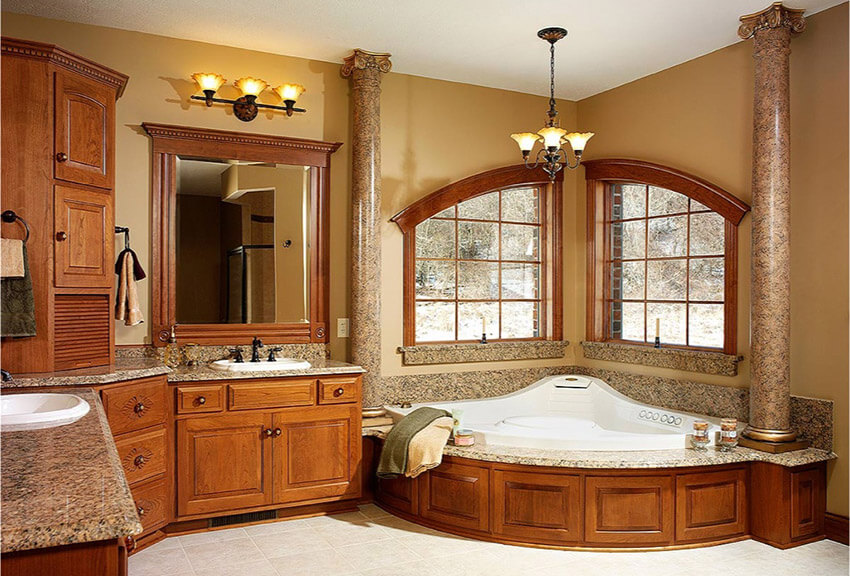 Decorative Bathroom Design With Large Tub With Pillars