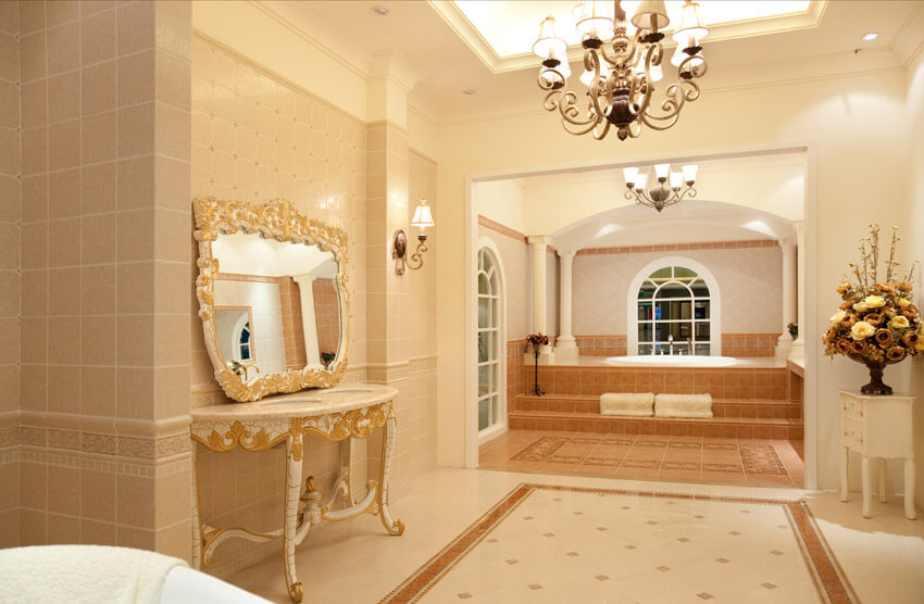 elegant bathroom suite in mansion