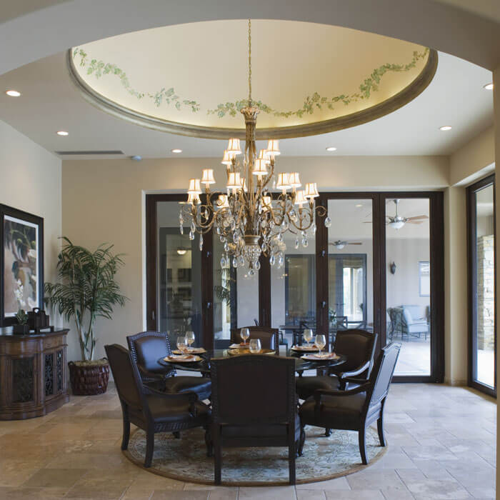 elegant formal dining room with high ceiling