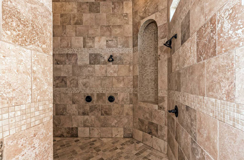 Extra Large Travertine Shower With Arched Alcove And High Ceiling