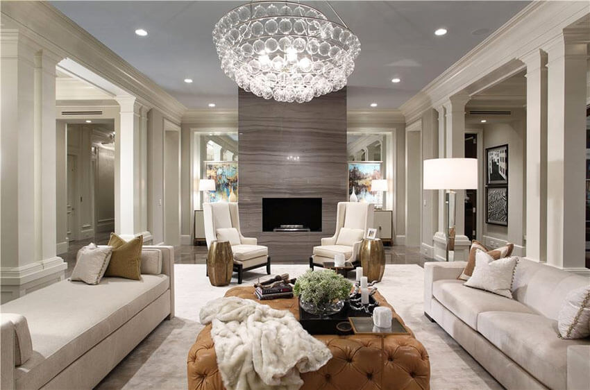 Formal Living Room With Fireplace And Leather Ottoman