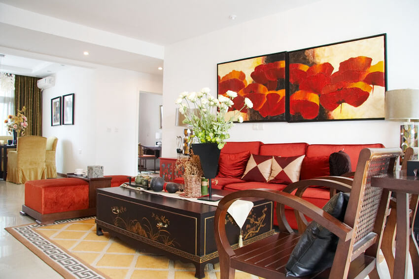 Formal Living Room With Red Accent Pieces