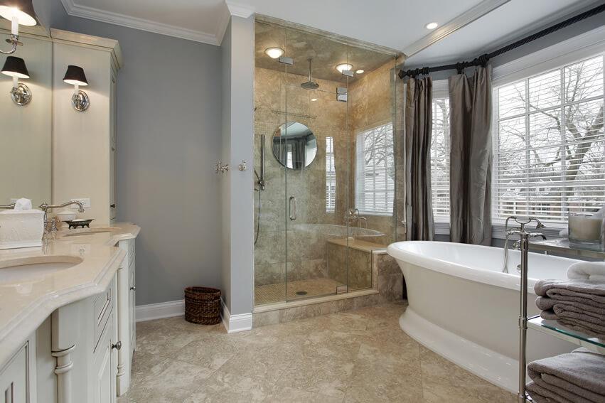 Glass shower rainfall pedestal bath tub