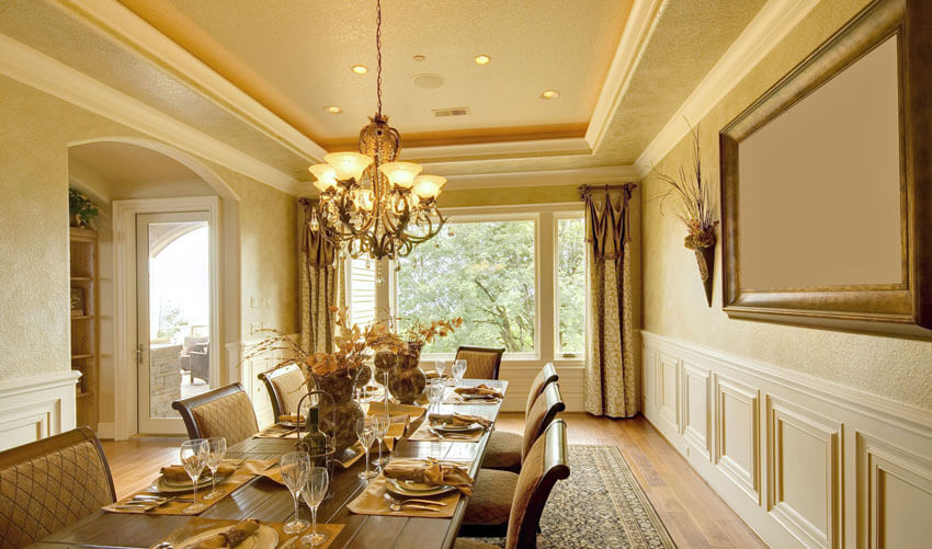 gold color luxury formal dining room
