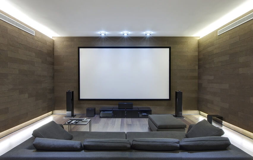 Home Theater Room With Surround Sound Stereo