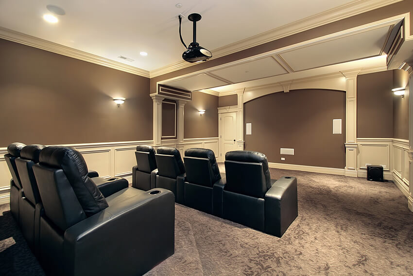 Home Theater With Black Leather Seats