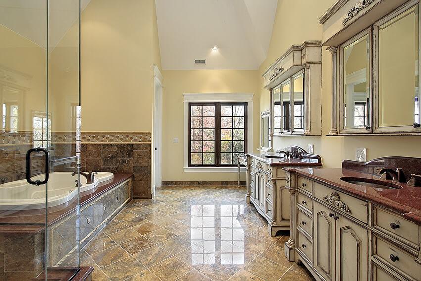 Large bath dual vanities sinks classic style