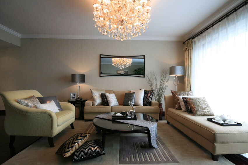 Living Room With Modern Chandelier